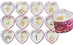 Wholesale Gold Tone Necklaces in Pink Heart Box Assorted pendants with 18