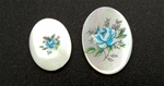 Vintage Oval Mother of Pearl Scrimshaw Blue Rose
