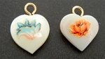 Mother of Pearl Heart Pendants Earrings with Gold Eye Pin, 2 styles, Orange Flower or Blue Unfurl