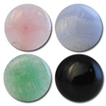 Wholesale Round Semi Precious Stone Cabochon - 14mm, available in Rose Quartz, Blue Lace Agate, Adventurine & Black Onyx.