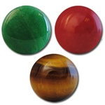 Wholesale Round Semi Precious Stone Cabochon - 16mm, available in (Jade add $1.00), Red Agate & Tiger Eye