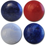 Wholesale Round Semi Precious Stone Cabochon - 18mm, available in Sodalite, Red Agate, Blue Lace Agate & Blue Lapis.