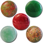 Wholesale Round Semi Precious Stone Cabochon - 20mm, available in Epidot, (Jade $2.00 extra) Red Quartz, Aventurine & Unikite.