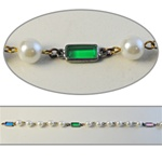 Rectangle & Pearl Crystal Lucite Chain Multi colored crystal lucite stones in silver plated setting. 6 x 10mm colored stones with alternating 8mm pearls, sold in 10 Feet minimum lengths.