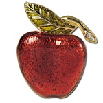 Glazed apple pin with crystal rhinestones