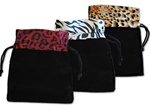 Assorted Animal Print Drawstring Pouches