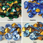 Wholesale Czechoslovakia Crystal Art.1100. Available in Emerald, Sapphire, Lt.Sapphire & Aqua, 8mm, 39ss (144pcs. minimum)