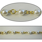 Wholesale Chanel Footage Pearl Chain  6mm pearls in gold plated setting, sold in 10 Feet minimum lengths.