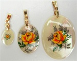 Oval Mother of Pearl Scrimshaw Pendants with Gold Bail Yellow Rose