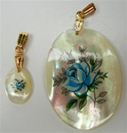 Oval Mother of Pearl Scrimshaw Pendants with Gold Bail Blue Rose