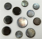 Genuine Mother of Pearl Round Black NO Hole Discs - 8mm, 10mm, 12mm