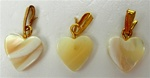 Mother of Pearl Heart Pendants / Earrings with Gold Eye Pin and Bail