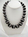 Coldwater Creek Large Bead Necklace, 20 inch with extender, Black Grey Silver