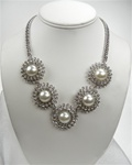 Coldwater Creek Rhinestone and White Pearl Necklace, 18 inch with extender