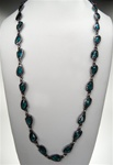 "Chico's Stone and Metal Fashion Necklace, 36"" with extender, Dark Aqua/GunMetal"