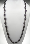 "Chico's Stone and Metal Fashion Necklace, 36"" with extender, Violet/GunMetal"