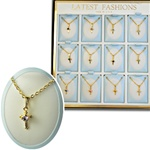 Wholesale Birthstone Cross Necklace Unit 12 cards in display box with easel back.