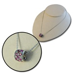 Wholesale Pink Crystal Cylinder Necklace