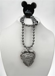 Authentic Disney Large Heart Pirate of the Caribbean Necklace on GunMetal Neck