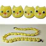 Glass Lamp Work Beads Cat head