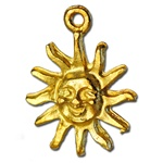 Wholsale Gold Overlay Sun Pendant Charming smiling sun, 18mm, may be used as a charm or pendant,  (6 pcs minimum)