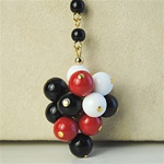 Wholesale Japanese Glass Bead Cluster Black, red & white, 8mm bead cluster.