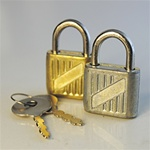 "Wholesale Lock & Key Set Two working locks, gold and silver with keys, 3/4""x 1"" (10pcs) minimum"