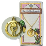 "Wholesale Religious Communion Card & Necklace First communion gift card & necklace 18"" (6 pcs minimum)"