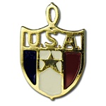 Wholesale Red, White & Blue USA Pendant Just in time for the Olympics, 13mm gold plated enamel pendants. (50 pcs minimum)
