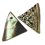 "Genuine Abalone Pendant Triangle shell pendants. Front and back shown, inside polished. Sizes vary 1"". (10 pcs minimum)"