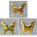 "Wholesale Vintage Enamel Butterfly Pendants Assorted butterfly pendants,1 1/4"" wide with 2 loops. (20 pcs minimum)"