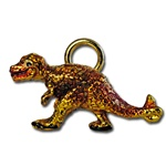 "Wholesale Gold & Red Dinosaur Pendant Playful dinosaur pendant 1""x 1/2"". (10 pcs minimum)"