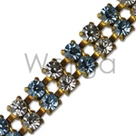 Double Row Light Sapphire and Crystal Rhinestone Chain