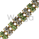 Double Row Peridot and Crystal Rhinestone Chain