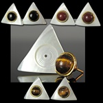 Genuine Stone & Mother of Pearl Earrings Triangle
