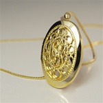"Wholesale Elegant Filigree Locket 25 x 18mm locket necklace with 14kt goldtone finished 24"" chain. (1dozen minimum)"