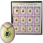 Wholesale Birthstone Flower  Necklace Unit 12 cards in display box with easel back.