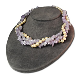 Genuine Amethyst & Glass Pearl Necklace