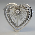 Wholesale Sterling silver heart & CZ pin