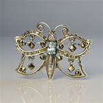 Sterling Silver Blue Topaz Butterfly Pin