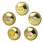 Wholesale gold plated CZ round sliders 10mm. Comes in five dazzling colors! Crystal, Pink, Peridot, Amethyst and Canary Yellow