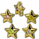 Wholesale gold plated CZ star sliders 12mm. Comes in five dazzling colors! Crystal, Pink, Peridot, Amethyst and Canary Yellow