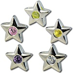 Wholesale silver plated CZ star sliders 12mm. Comes in five dazzling colors! Crystal, Pink, Peridot, Amethyst and Canary Yellow.