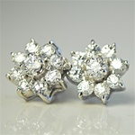 Wholesale Sterling Silver Cubic Zirconia Earrings Stunning CZ earrings in star pattern,10mm.