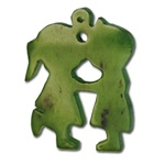 Girl & Boy Kissing Jade Pendant  Charming genuine jade pendant. 30x20 mm.