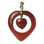 Wholesale Vintage Heart within a Heart Pendant Beautiful carnelian floating heart, 15mm, within a heart, 40mm pendant.