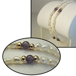 "Wholesale Genuine Biwa Bracelet Beautiful 2 strand bracelet with pearls and 4mm Amethyst beads.8""."