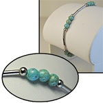"Wholesale Genuine Turquoise Bead Bracelet Beautiful turquoise 4mm beads on sterling silver bracelet, 7""."
