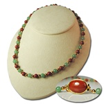 Genuine Jade & Red Jasper Necklace