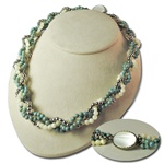 Sterling Silver Turquoise & Mother of Pearl Necklace